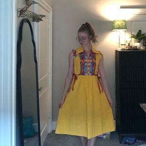 Vintage Act I mustard Mexican inspired dress